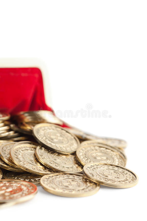 Scattered Gold Coins Are In Hot Red Purse Stock Image