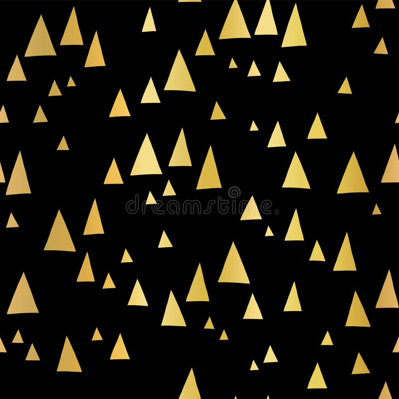Scattered gold foil triangles on black seamless vector pattern. Abstract geometric background. Abstract mountain landscape in royalty free illustration