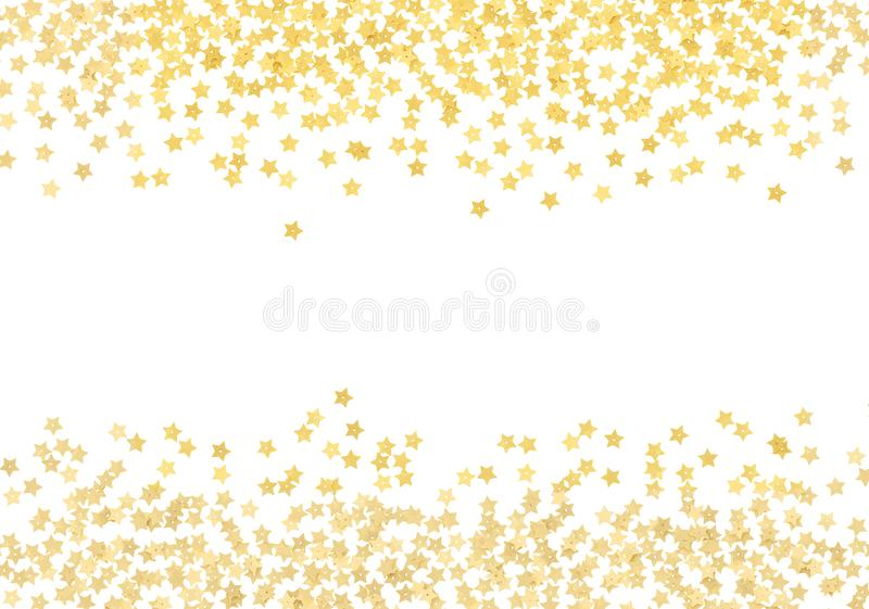Scattered gold star shape confetti borders royalty free stock photography