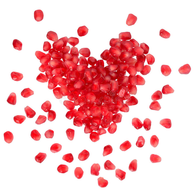 Free Scattered Grain Pomegranate In The Shape Of A Heart Stock Photo - 65979840
