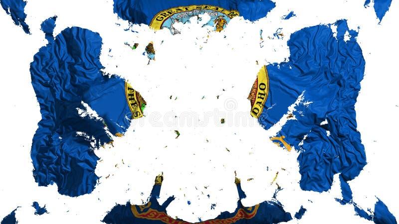 Scattered Idaho state flag. White background, 3d rendering vector illustration
