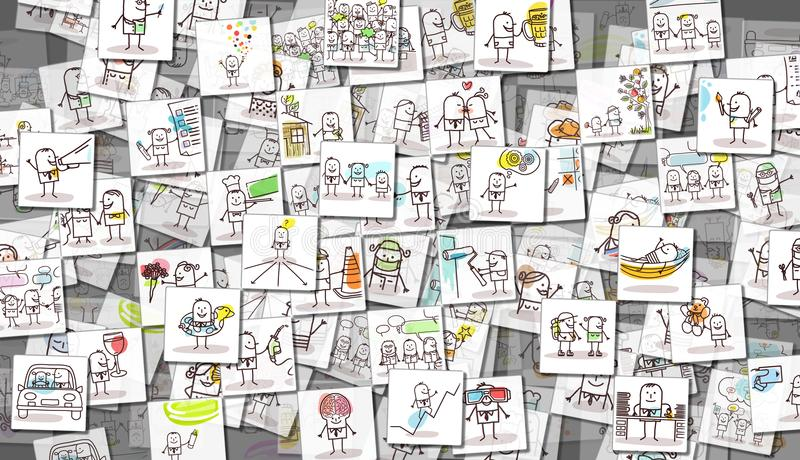 Scattered Images of Cartoon People and Everyday Life stock illustration