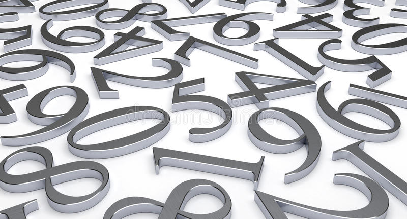 Scattered Numbers stock image