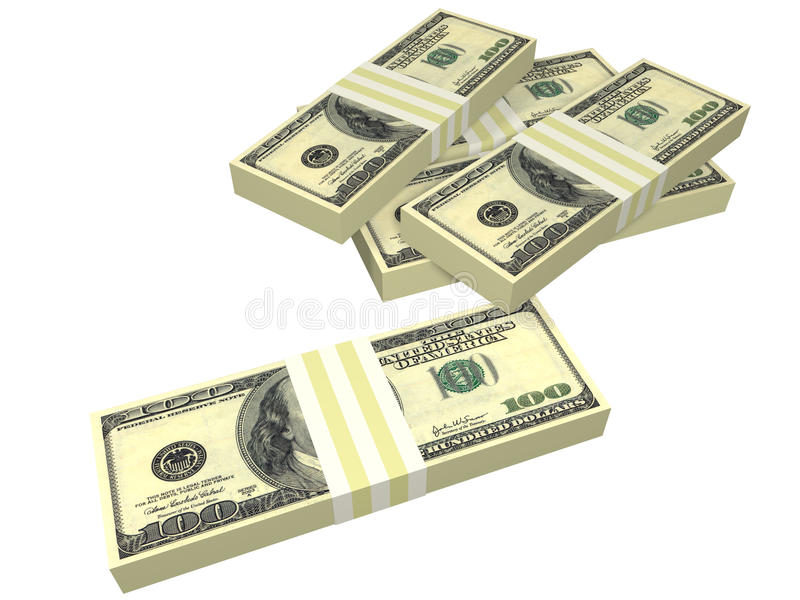 Scattered pack of dollar bills isolated
