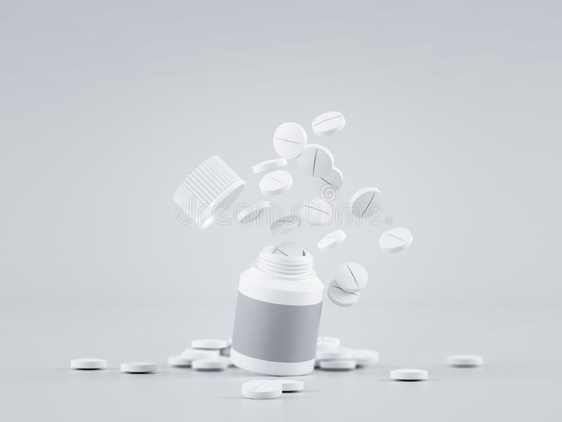 Scattered parmaceutical medicine pill tablets spilling out of white bottle on light gray background. Mock up template. Health care royalty free stock images