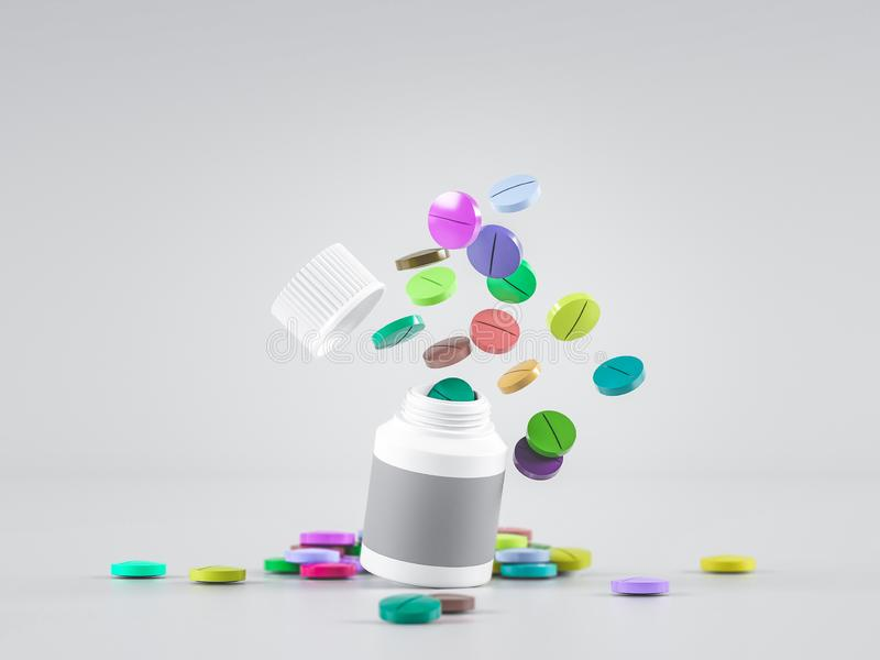 Scattered parmaceutical medicine pill tablets spilling out of white bottle on light gray background. Mock up template. Health care stock photo