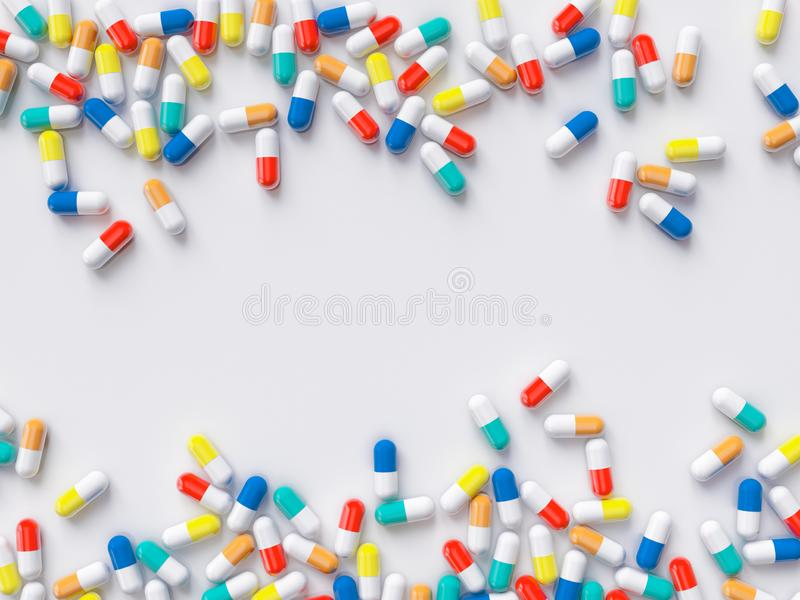 Scattered parmaceutical medicine pill tablets on the white background. Mock up template. Health care concept. 3d render royalty free stock photo