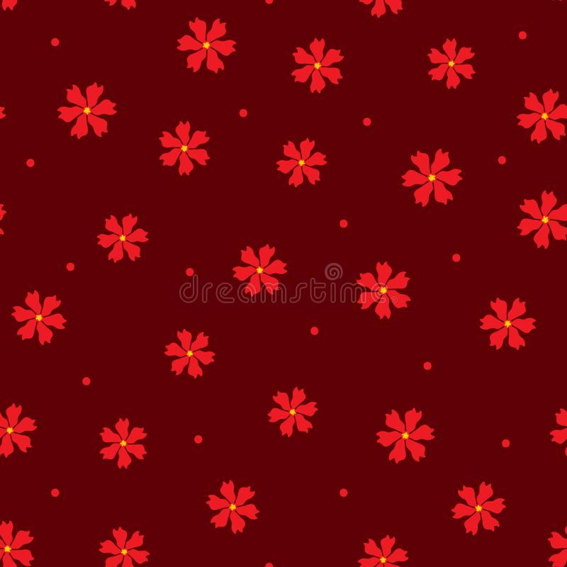Scattered repeated flowers and round dots. Feminine floral seamless pattern. vector illustration