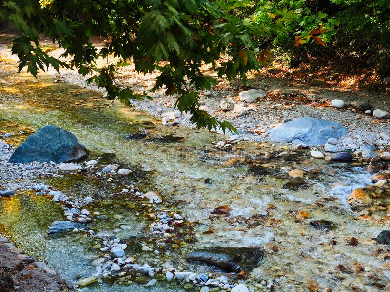 Scattered Rock Formation in Mountain Stream, Greece royalty free stock photos