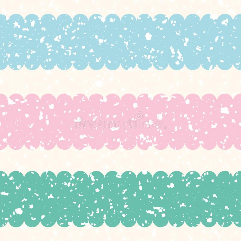 Scattered white terrazzo shapes with pastel pink, blue, teal stripes. Seamless vector pattern on cream color background stock illustration