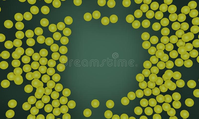 Scattered yellow sphere objects, background 3d render. Working royalty free illustration