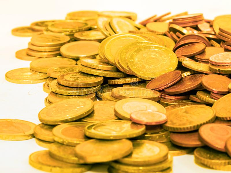 Pile of euro cents stock images