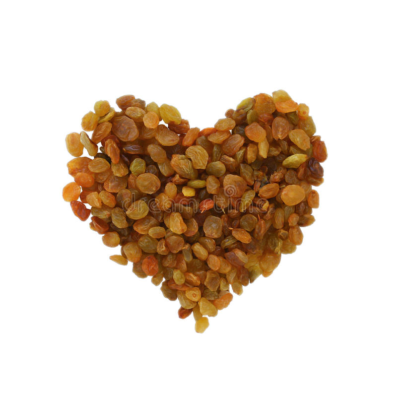 A scattering of raisins in the form of heart royalty free stock photography