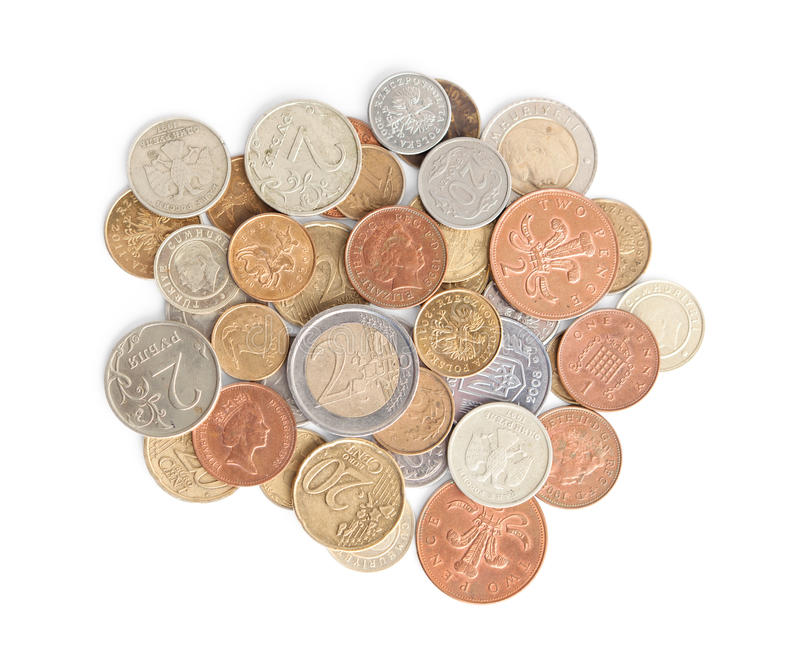 Scattering silver and gold coins stock photos