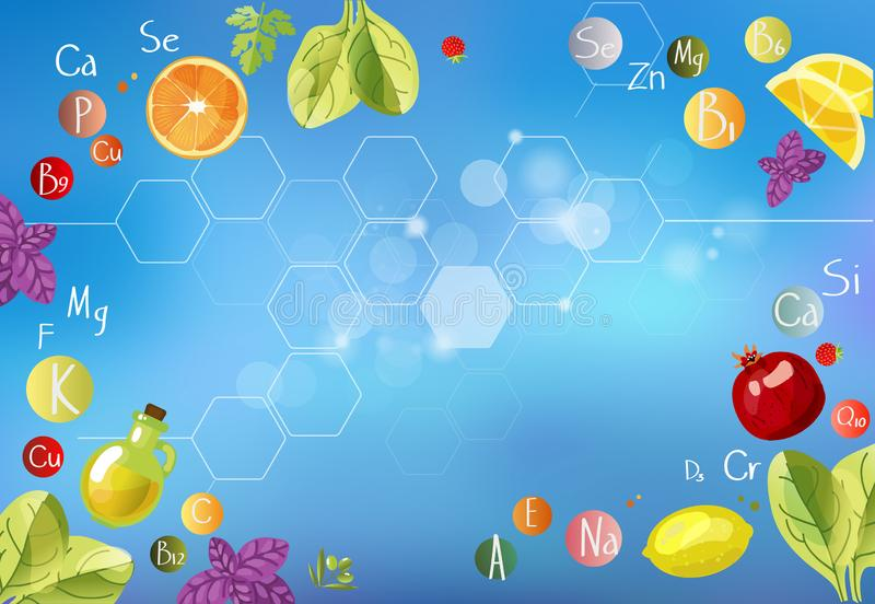 A scattering of vitamins. ABC of Health/ A scattering of vitamins. Background with vitamins, minerals and fresh fruits and greens vector illustration