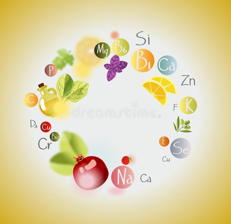 A scattering of vitamins. Background with vitamins, minerals and fresh fruits and greens. Frame vector illustration