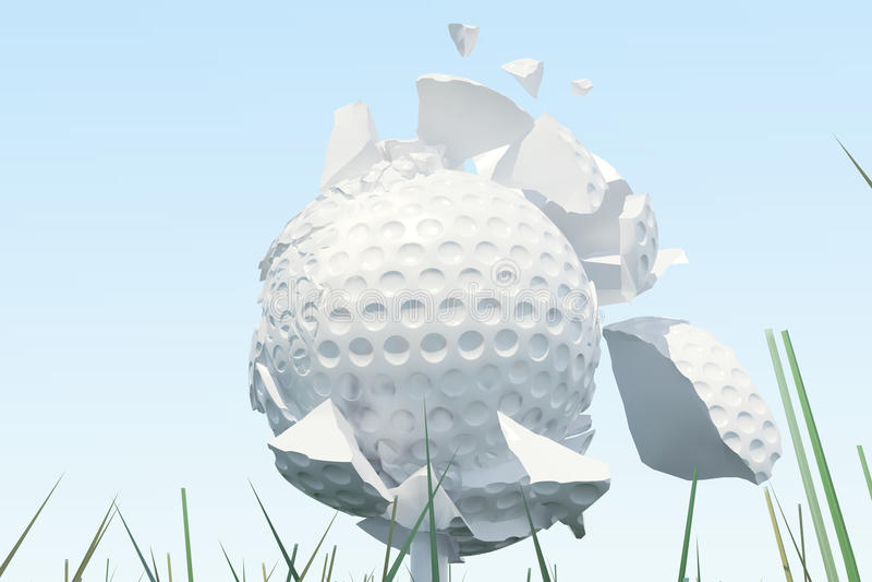 Scatters da bola de golfe da ilustração 3D às partes depois que um sopro e uma bola fortes na grama, fim acima da vista no T pron ilustração royalty free