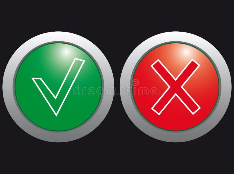Scatto sì e no, le icone. royalty illustrazione gratis