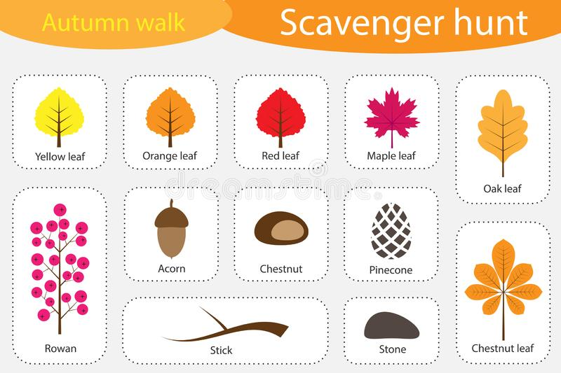 Scavenger hunt, autumn walk, different colorful autumn pictures for children, fun education search game for kids, development for royalty free illustration