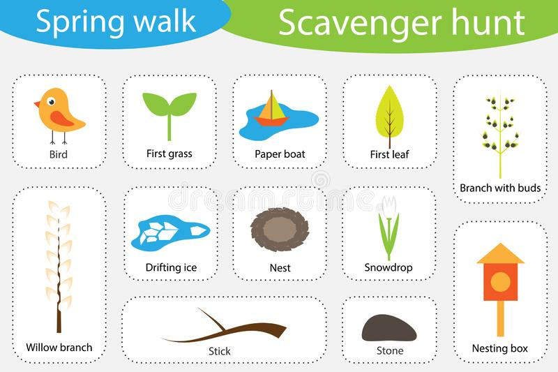 Scavenger hunt, spring walk, different colorful pictures for children, fun education search game for kids, development for vector illustration