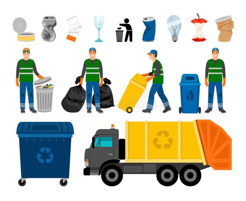 Scavengery, för avfall och för avskräde kulöra symboler Avfalls för avfalllastbil och soptunna-, asätare- och hushåll vektor illustrationer