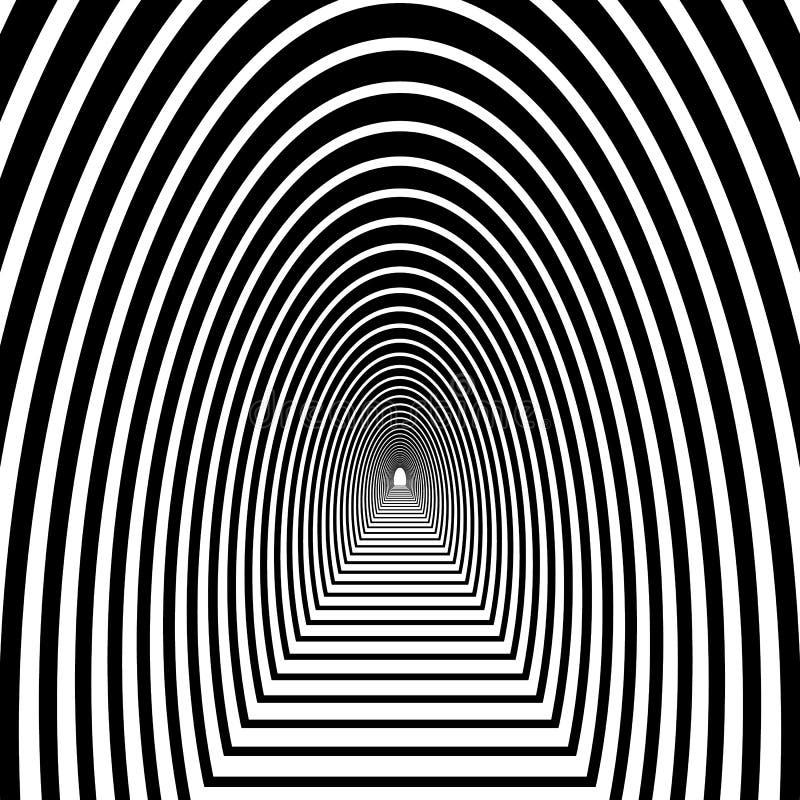 Scavi una galleria, arco semicircolare con il pavimento che va nella distanza, immagine stock