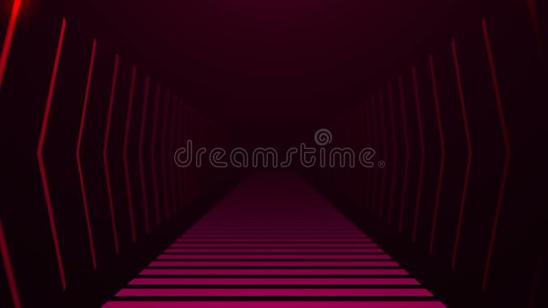 Scavi una galleria con luce al neon nello spazio, il contesto generato da computer dell'estratto, 3D rendono royalty illustrazione gratis