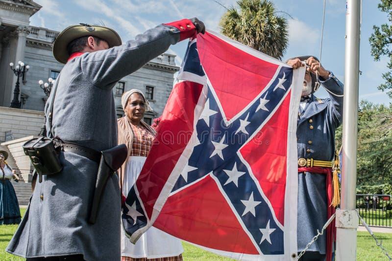 SCConfederateFlagRally royaltyfria bilder