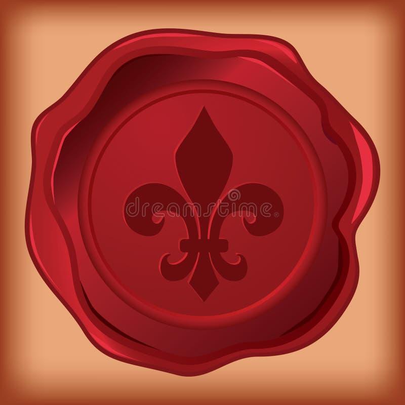 Sceau de cire de Fleur de lis illustration de vecteur