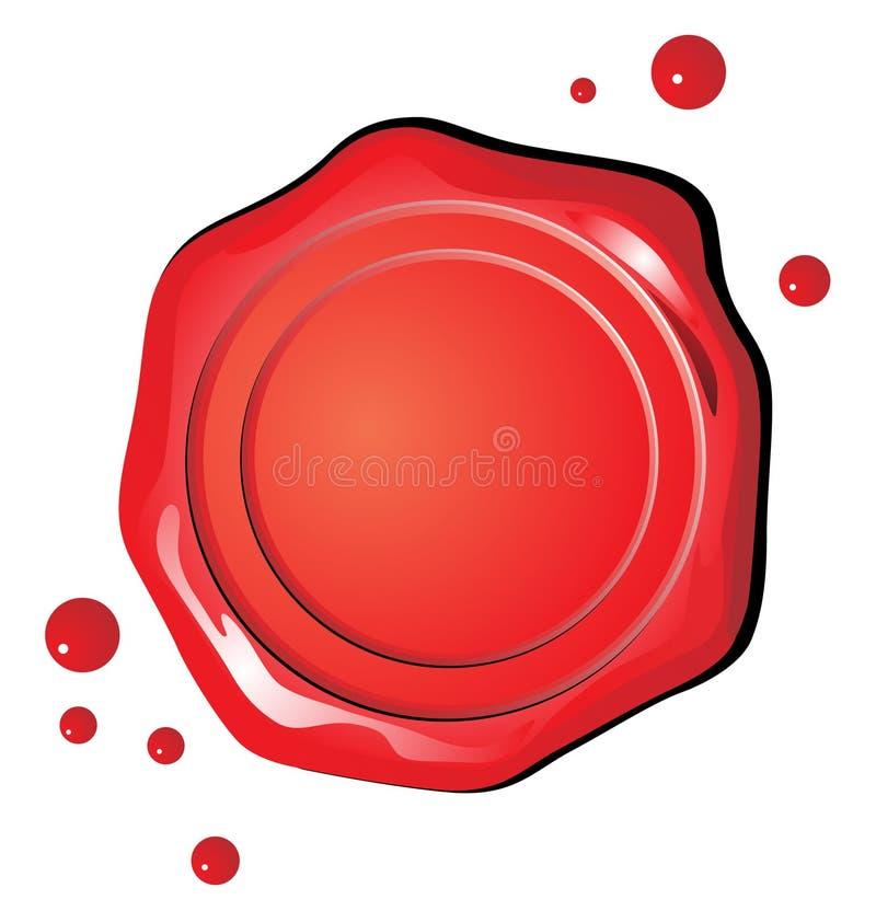 Sceau de rouge de cire de vecteur illustration de vecteur