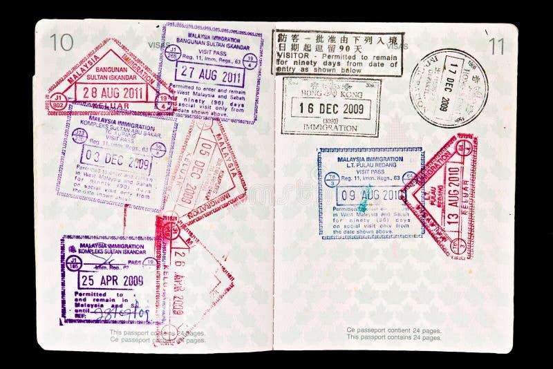 Sceaux de la Malaisie dans le passeport photos libres de droits