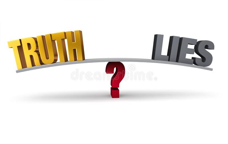 Scegliendo fra la verità e le bugie illustrazione vettoriale