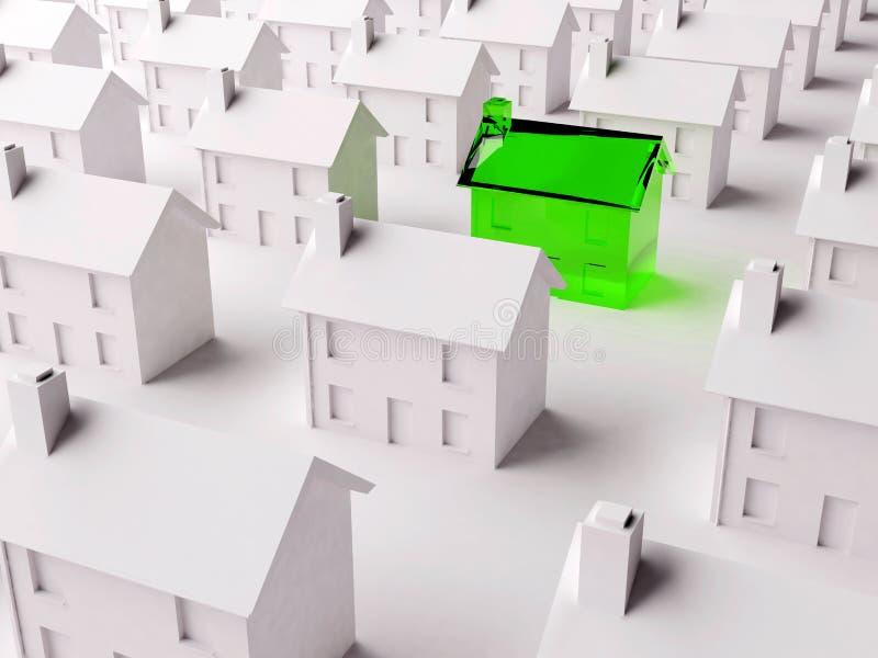Scegliendo la giusta casa da molti illustrazione di stock