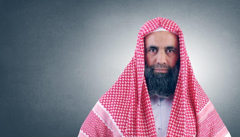 Sceicco arabo islamico con la barba immagine stock