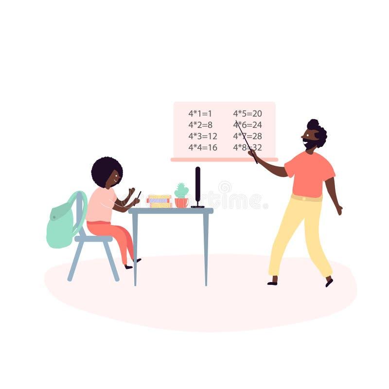 Scelga gli afroamericani neri del figlio e del padre che fanno le lezioni della scuola illustrazione di stock