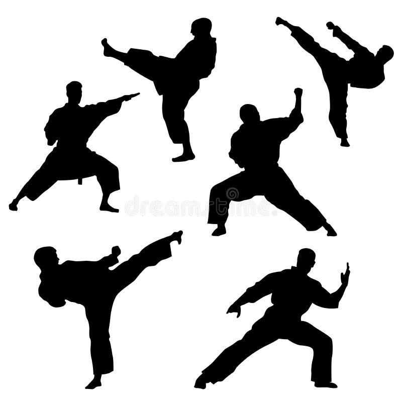 Scelga i combattimenti, un insieme delle siluette di un karatè nelle pose differenti illustrazione di stock