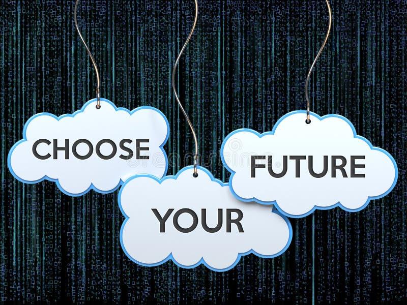 Scelga il vostro futuro sull'insegna della nuvola illustrazione vettoriale