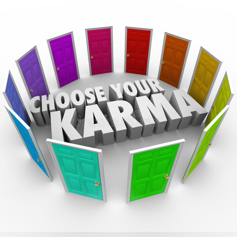 Scelga la vostra Karma Many Doors Paths Fate Destiny Luck illustrazione di stock