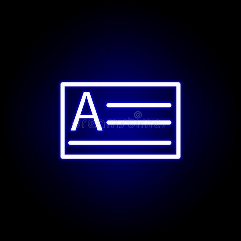 Scelga, testo, icona della scatola nello stile al neon Pu? essere usato per il web, il logo, il app mobile, UI, UX royalty illustrazione gratis