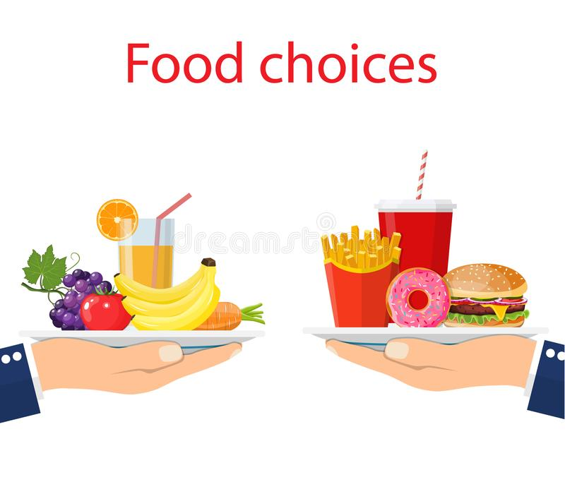 Scelta dell'alimento Cibo del ciarpame e sano illustrazione vettoriale