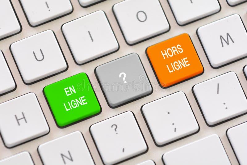 Scelta dell'en Ligne o di Hors Ligne in francese sulla tastiera fotografia stock libera da diritti