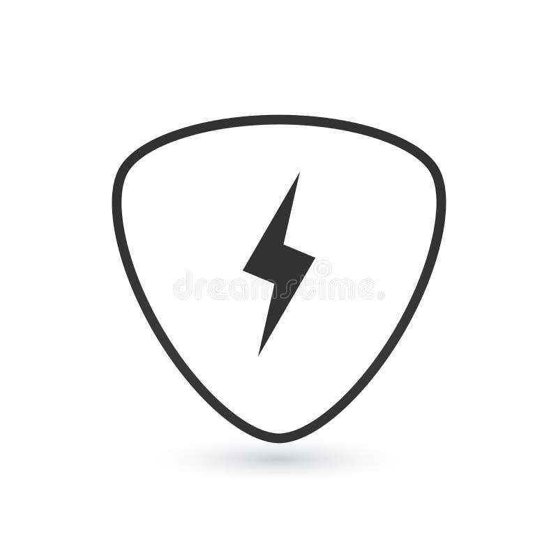 Scelta della chitarra ed illustrazione dell'icona del fulmine isolata su bianco illustrazione vettoriale