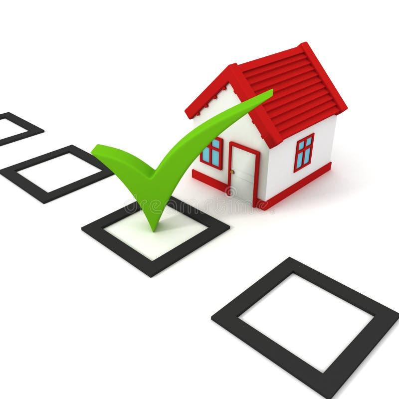 Scelta di concetto della casa con la casella di controllo illustrazione vettoriale