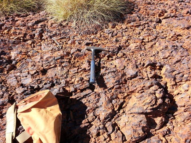 Scelta e borsa di geologia con spinifex fotografia stock