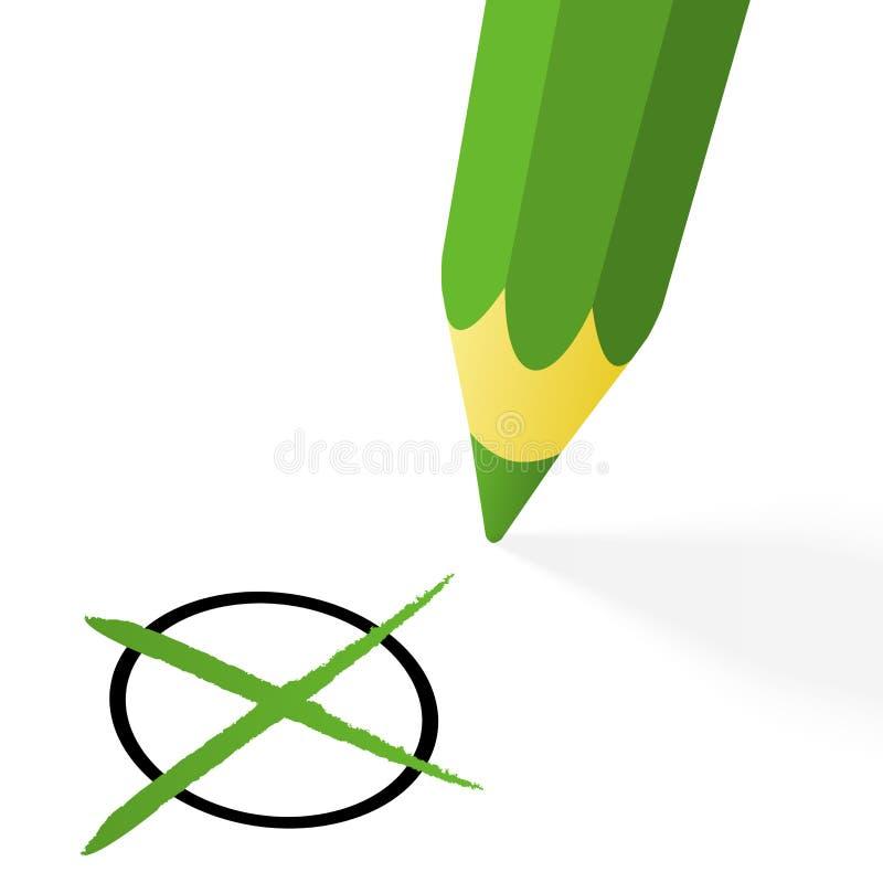 Scelta: matita verde con l'incrocio royalty illustrazione gratis