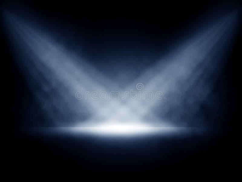 Scen światła z dymiącym skutkiem zdjęcie royalty free