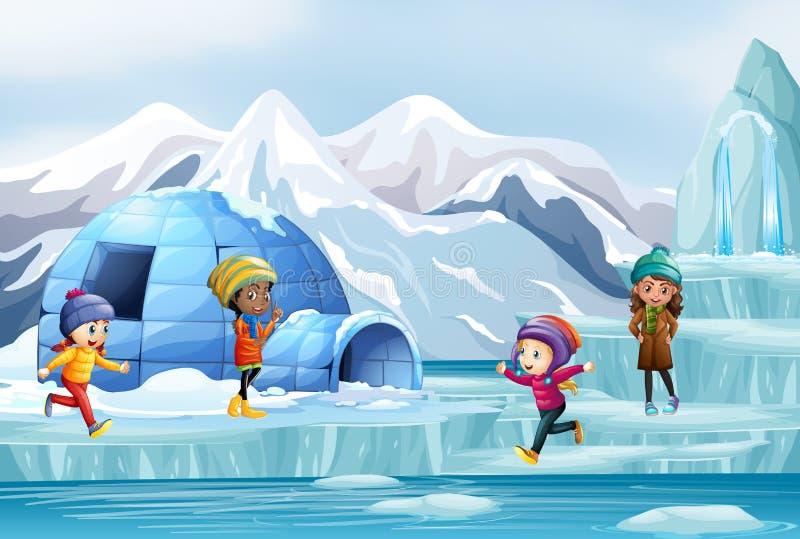 Scen med barn och igloo vektor illustrationer