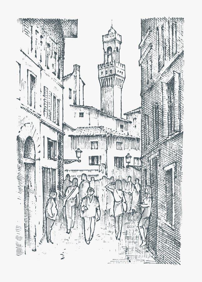 Scen ulicy w Europejskim grodzkim Florencja w Włochy grawerująca ręka rysująca w starym nakreślenia i rocznika stylu dziejowy ilustracji