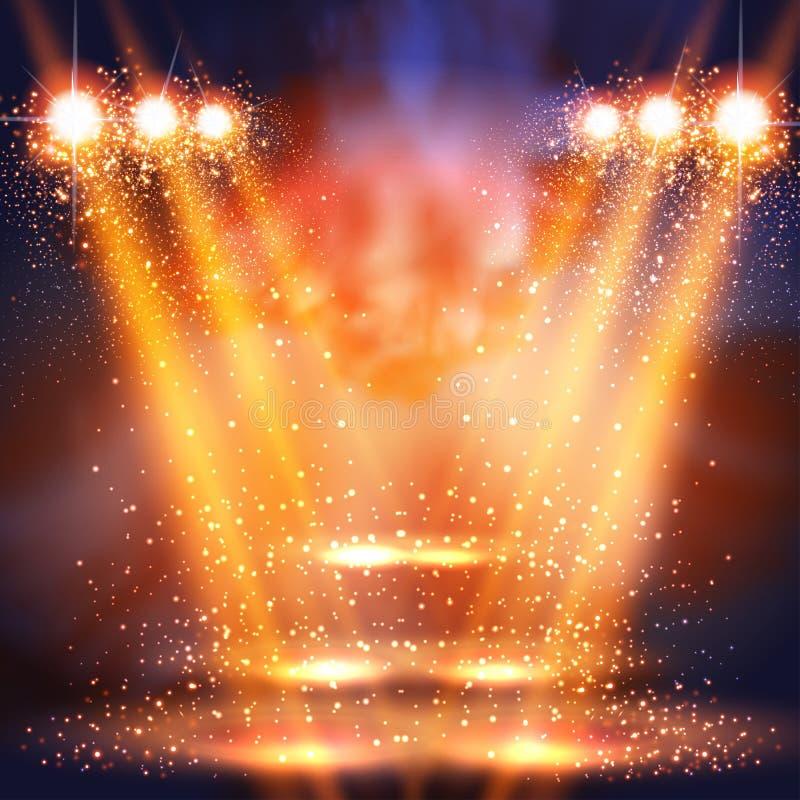 Scena, światło, światła reflektorów błyszczy w ciemnym miejsca tle ilustracja wektor