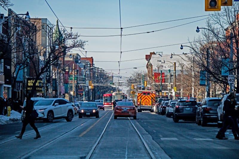 Scena ad ovest a Toronto, Ontario, Canada della via della regina fotografia stock
